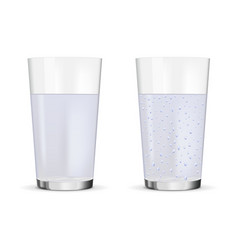 glass of still and sparkling water vector image vector image