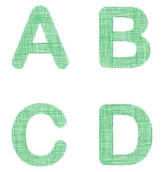 Green fabric font set - letters a b c d vector