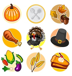 Happy Thanksgiving Sticker Icon Set vector image vector image