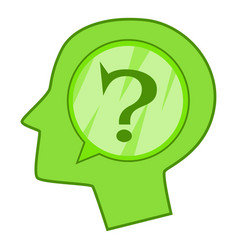 Head silhouette with question mark inside icon vector