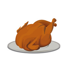 Hot baked roasted chicken on plate fast food vector
