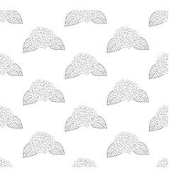 Hydrangea flower seamless on white background vector