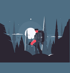 man traveler in night hike vector image