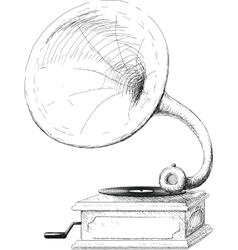 Old gramophone sketch vector