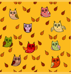 Owl leaves seamless pattern vector
