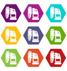 Pneumatic hammer machine icon set color hexahedron vector