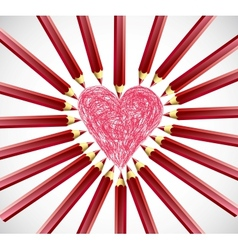 Red Heart Pencils vector image vector image