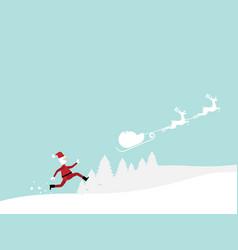 santa claus running follow reindeer cartoon vector image