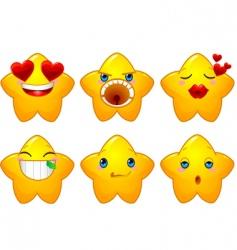 set of smileys stars vector image vector image