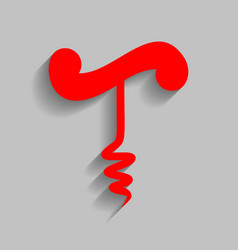 simple corkscrew sign red icon with soft vector image vector image