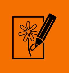 Sketch with pencil icon vector