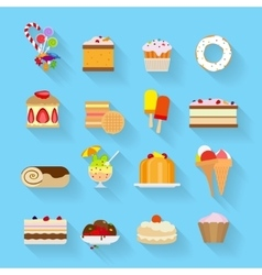 Sweets flat icons vector image vector image