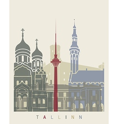 Tallinn skyline poster vector