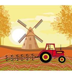 Tractor plowing field in autumn vector