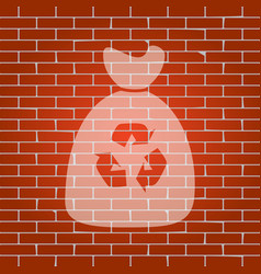 trash bag icon whitish icon on brick wall vector image vector image