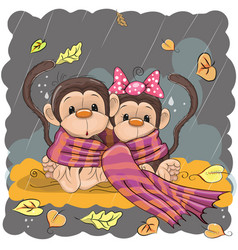 Two monkeys in a scarf vector