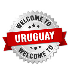 uruguay 3d silver badge with red ribbon vector image vector image