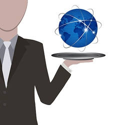 Waiter presenting the world in blue on silver vector image vector image