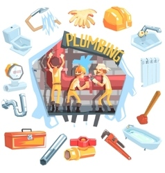 Three Plumbers At Work Surrounded By Profession vector image