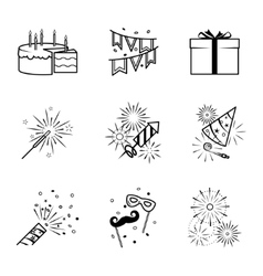 Birthday party celebration fireworks icons set vector