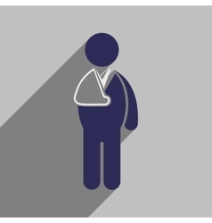 Modern flat icon with long shadow patient with vector
