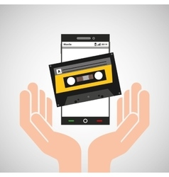 Hand mobile phone cassette audio vector