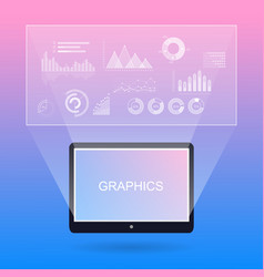 Graphic diagrams and tablet with inscription vector