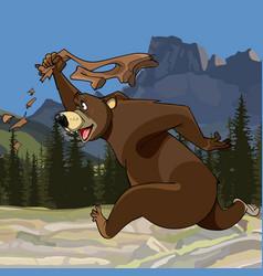 cartoon funny bear runs with pants in hand vector image