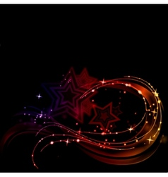 Abstract glowing lines with stars vector image