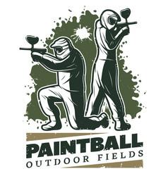 Vintage paintball club template vector