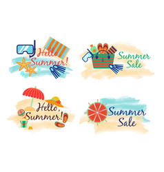 Summer sale labels with sand and sea in watercolor vector