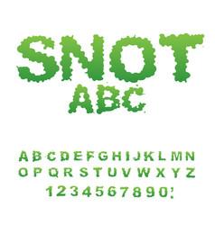 Snot font snivel alphabet green slime letters vector
