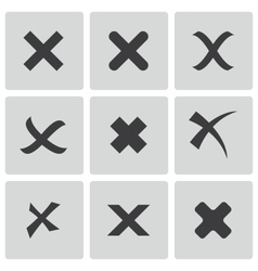 Black rejected icons set vector