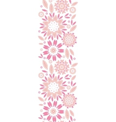 Pink abstract flowers vertical seamless pattern vector