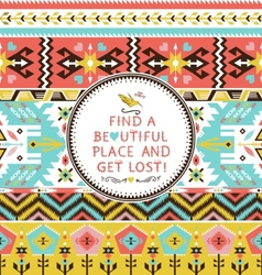 seamless colorful tribal pattern vector image
