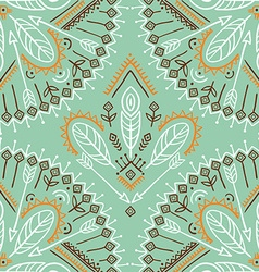 Seamless pattern with ethnic arrows feathers and vector