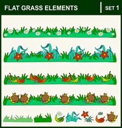 0915 10 flat grass elements set1 v vector