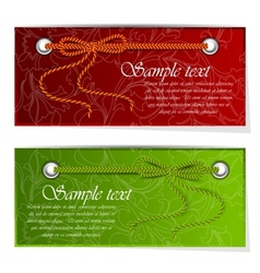 Set of banners with bow and tape vector image