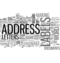 Address lables useful tips text word cloud concept vector