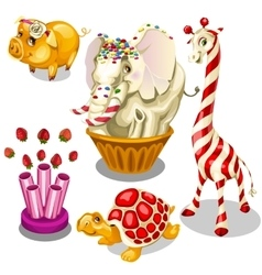 Animal sweets made of caramel and chocolate vector