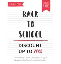 Back to school Discount banner vector image vector image