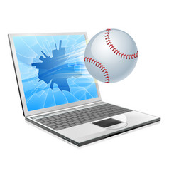 Baseball ball laptop vector