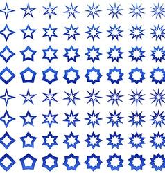 Blue star shape set vector