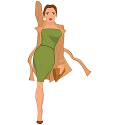 Cartoon young woman in green dress and brown coat vector image vector image