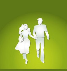 Couple man and woman with flowers walking vector