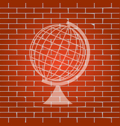 Earth globe sign whitish icon on brick vector