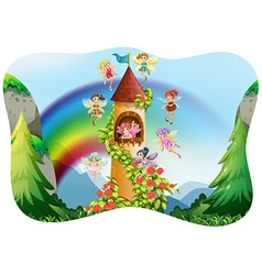 Fairies flying around the castle vector