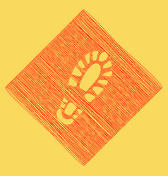 Footprint boot sign red scribble icon vector