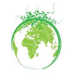 Green earth with leaves vector image