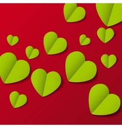 Green paper origami hearts Valentines day card on vector image
